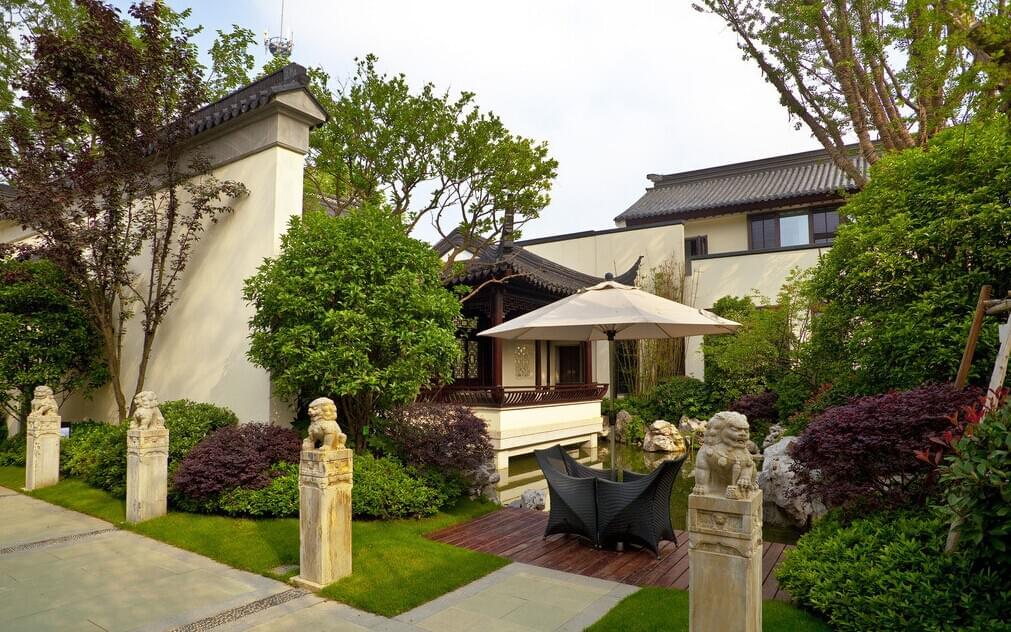 地产景观设计|中式别墅庭院