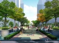 高档西班牙风情园林景观设计-珠江地产商业街